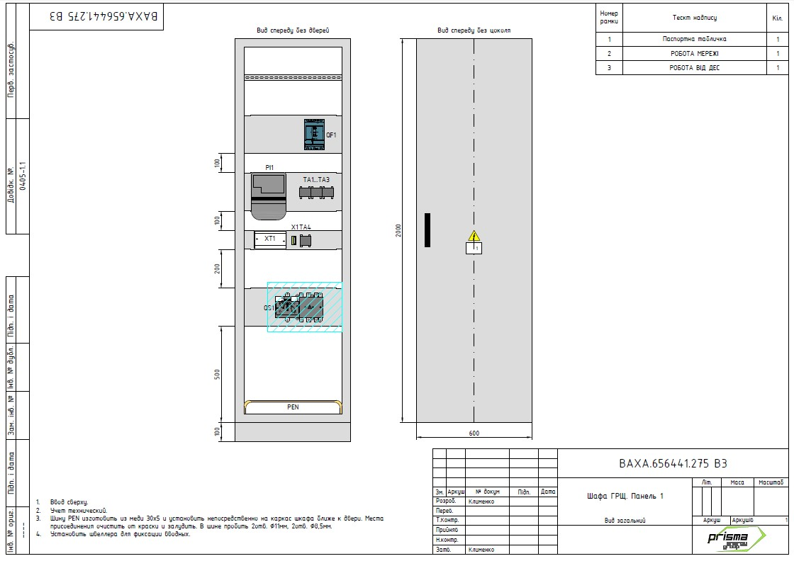 Вводно-распределительный щит, шкафы вентиляции и шкафы КРМ для Varus (Киев)